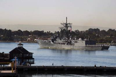 USS Gary (FFG 51) arrives at Naval Base San Diego after completing its final deployment before decomissioning. (US Navy photo by Donnie W. Ryanl)