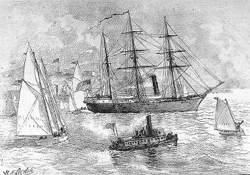 USS Jeannette (1879-1881) Engraving after a sketch by H.A. Ogden, depicting Jeannette leaving San Francisco, California, on July 8, 1879 to begin her Arctic expedition. (U.S. Naval Historical Center Photograph.)