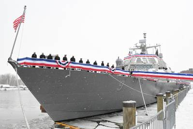USS Little Rock (LCS 9) during its December 16 commissioning ceremony in Buffalo, N.Y. (U.S. Navy photo courtesy of Lockheed Martin