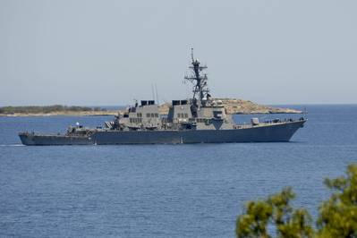 USS Porter (DDG 78) departs Souda Bay, Greece following a brief port visit June 5, 2016. Porter is conducting a patrol in the U.S. 6th Fleet area of operations in support of U.S. national security interests in Europe. (U.S. Navy Photo by Heather Judkins)