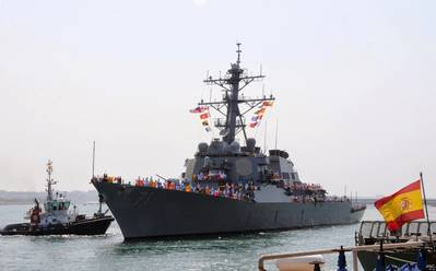 USS Ross (DDG 71) arrives at Naval Station Rota, Spain. (U.S. Navy photo by Grant Wamack)