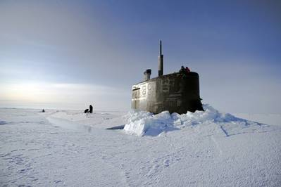 USS Seawolf surfaced in ice: Photo credit USN