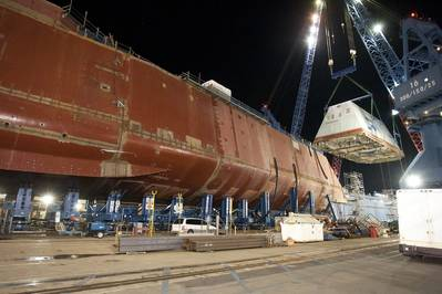 USS Zumwalt (DDG 1000) under construction in December 2012. (U.S. Navy photo)