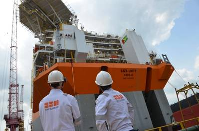 Illustration: SBM Offshore's first Fast4Ward® hull at Keppel yard in Singapore. Photo credit Lim Weixiang via SBM Offshore