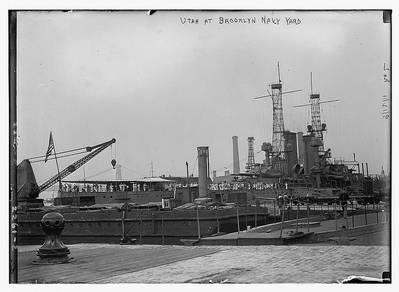 Utah (BB-31) at Brooklyn Navy Yard. (Photo: Boston Public Library, Leslie Jones Collection)