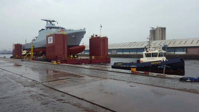 Vessel in cradle pre launch. Photo Courtesy: Malin Group