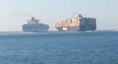 Video screenshot via PoliceInPortsaid of Colombo Express (right) about to collide with Maersk Tanjong in the Suez Canal