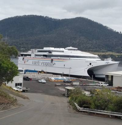 Virtu Ferries ship launched at Incat. Photo: Incat