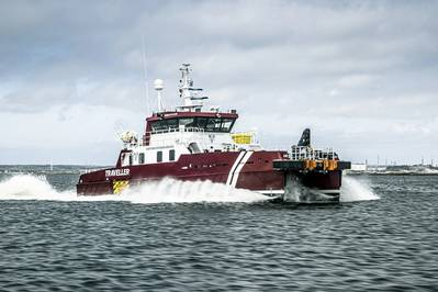 Volvo Penta led a completely remote installation of quad IPS units to repower Northern Offshore Services (NOS) vessel, the M/V Traveller, for operation in the North Sea. (Photo: Volvo Penta)