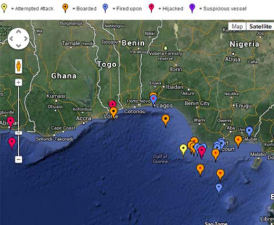 W. Africa Piracy map: Image courtesy of IMB