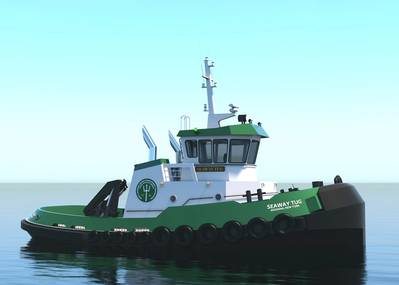 Washburn & Doughty will build a Glosten-designed harbor tug for the Saint Lawrence Seaway Development Corporation. The vessel is due for delivery in 2021. (Image: Glosten)