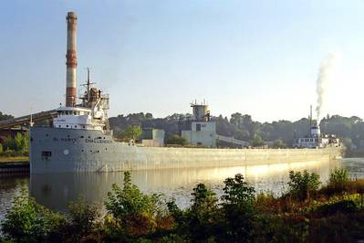 When the cement carrier ST. MARYS CHALLENGER gets underway in April, it will mark the vessel's 107th year of service. (Photo: Rod Burdick)