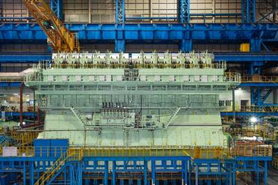 WinGD's dual-fuelled X92DF engine, the first in a series that will power nine ULCS for CMA CGM Group (Photo: WinGD)