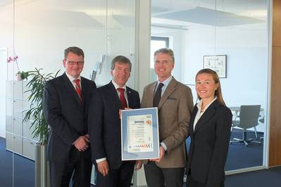 Wolfgang Engel, SGS Lead Auditor (2nd left) in Röhlig's Bremen headquarters presenting the certificate to (from left) Marc Guse, Hans-Ludger Körner and Angela Dooms.