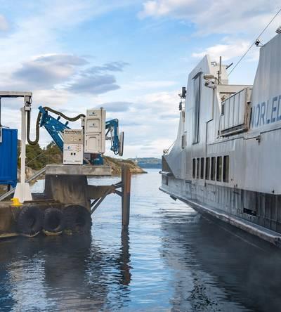 Wärtsilä's wireless charging system is the first in the world to operate successfully with a coastal ferry.  (Photo: Wärtsilä)