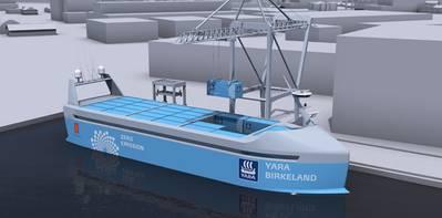 YARA Birkeland container feeder ship design (Image: Kongsberg)