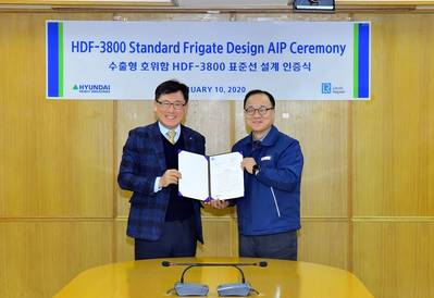 Young-Doo Kim (left), LR's North Asia Technical Support Office Manager presents the AiP to Sang-Hoon Nam, COO of Naval and Special Ship Business Unit at HHI.(Photo: LR)