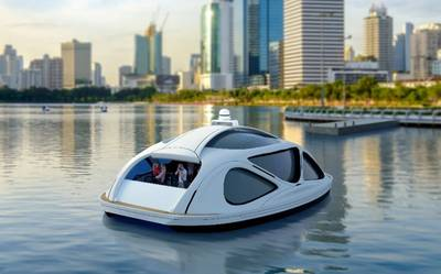 Zeabuz' (zero-emission sea-bus) is an all-electric waterbus concept designed to provide autonomous mobility services to cities and towns, carrying 10-30 passengers at a time. Image: Zeabuz