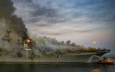 A fire broke out on board USS Bonhomme Richard (LHD 6) at Naval Base San Diego, in July 2020. (Photo: Austin Haist / U.S. Navy)