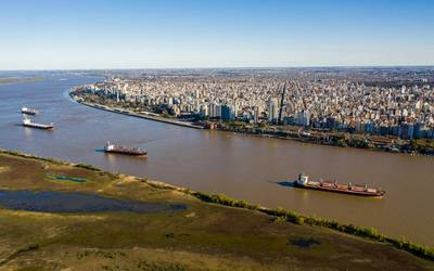 Aerial shot over Parana River in Front of Rosario City / Image for Illustration only - Credit: Wirestock