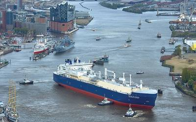 Arctic Firsts: Arc 7 LNG carriers, including the Risunok and the ice-breaking Christophe de Margerie (pictured here). (Photo Courtesy: Yamal LNG and Sovcomflot)