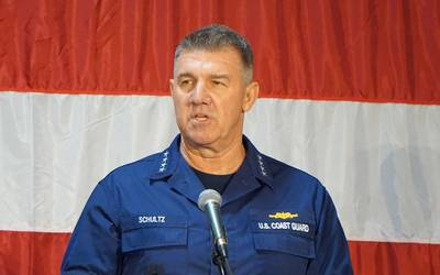 Commandant of the U.S. Coast Guard Adm. Karl Schultz delivers the State of the Coast Guard Address in Charleston. (Photo: Eric Haun)