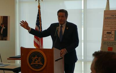 File Image: Congressman John Garamendi at a recent speech at the California Maritime Academy.