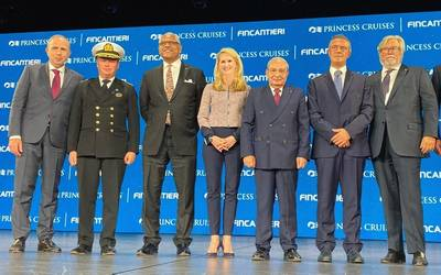 From left to right: Roberto Olivari, Monfalcone Shipyard Director; Captain Heikki Laakkonen; Arnold Donald, President and CEO of Carnival Corporation; Jan Swartz, Group President of Princess Cruises and Carnival Australia; Giuseppe Bono, CEO of Fincantieri; Gianluca Castaldi, Undersecretary of State to the Presidency of the Council of Ministers; Micky Arison, Chairman of Carnival Corporation; Stein Kruse, Group CEO of Princess Cruises, Holland America Line, Seabourn, Carnival Australia and UK. P