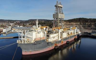 """In July, Allseas' 'Hidden Gem' heads to Tenerife for drydock modifications ahead of a collector """"wet-test"""" in the Atlantic at the end of 2021 and the official start of pilot mining tests in the Pacific, 1200 nautical miles west of Mexico, in 2022. Photo from Allseas."""