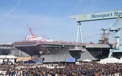 More than 20,000 guests attended the christening ceremony of the aircraft carrier John F. Kennedy (CVN 79) at Newport News Shipbuilding division. (Photo: Ben Scott/HII)