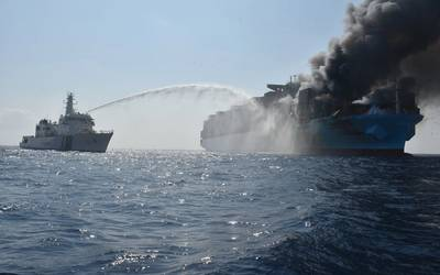 """""""One troubling statistic is that on average there is a fire onboard a container ship every week, with a major container fire occurring on average every 60 days."""" (Photo: Indian Coast Guard)"""