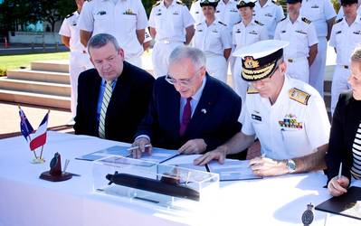 The Future Submarine Program Strategic Partnering Agreement (SPA) is signed by the Commonwealth of Australia and Naval Group in February 2019 (Photo: Naval Group)