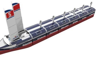 The InfinityMAX concept is Stena Bulk's take on zero emissions, self-sufficient and flexible seaborne transportation. It aims to have a ship with a similar design to the InfinityMAX concept operating on the water by 2035 at the latest. Image courtesy Stena Bulk