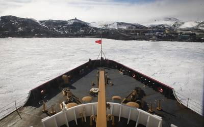 The U.S. Coast Guard Cutter Polar Star breaks ice Jan. 16, 2020, near the ice pier of McMurdo Station, Antarctica. (U.S. Coast Guard photo NyxoLyno Cangemi)