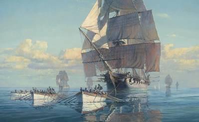 Ένας πίνακας του Maarten Platje που ονομάζεται Great Chase λέει αυτή την εκπληκτική ιστορία του Αμερικανικού Συντάγματος Φρεγάτας που βγαίνει από την ακτή του Νιου Τζέρσεϋ και εμπλέκεται σε μια κωπηλατική κούρσα για να απομακρυνθεί από μια ισχυρή βρετανική μοίρα. Το Σύνταγμα δραπέτευσε και συνέχισε να έχει τις καταπληκτικές νίκες του εκείνο το έτος, αλλά αν είχε πιαστεί, σήμερα δεν θα είχαμε ποτέ ακούσει για αυτήν. Πιστωτική Maarten Platje