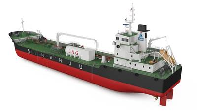 Η απεικόνιση του Sinanju του δεξαμενόπλοιου καυσίμων με δύο καύσιμα (CREDIT: Sianju)