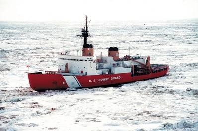 Изображение файла одиночного тяжелого ледокола Береговой охраны, Полярная звезда. Изображение CREDIT: USCG
