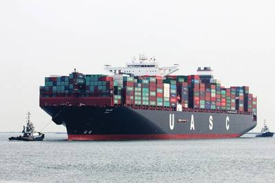 Мегабоксер MV SAJIR на 15 000 TEU будет преобразован в метан для работы (© Hapag-Lloyd)