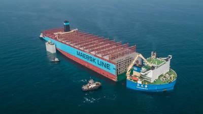 Надежная часть судна Maersk Honam, в прошлом году пострадала от серьезного пожара, транспортируется на верфь Hyundai Heavy Industries в Южной Корее, где она будет восстановлена. Фото: Maersk