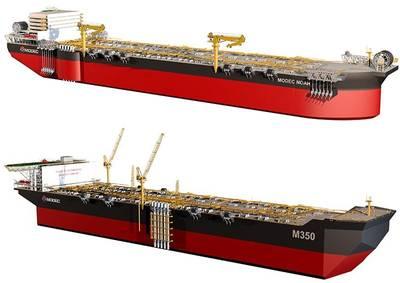 Недавно представленные модели MODEC NOAH (вверху) и M350 FPSO (изображение: MODEC)