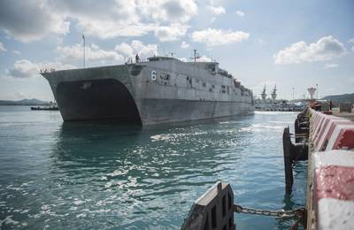 Официальный военно-морской флот США подал фотографию USNS Brunswick (T-EPF 6). Этот корабль находится в том же классе, что и PCU Burlington (EPF 10).