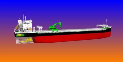 Саморазряжающиеся сухогрузы, построенные для Aasen Shipping, будут первыми в своем роде, работающими с гибридным двигателем. (Изображение: Aasen Shipping)