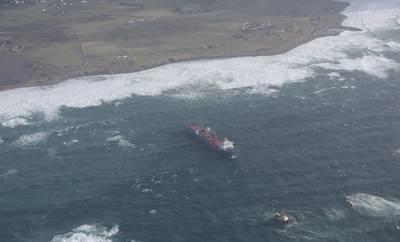 Харриер, ранее называвшийся Tide Carrier, был задержан из-за отказа двигателя и начал дрейфовать возле Йерена в Ругаланне. (Фото: Кистверкет)