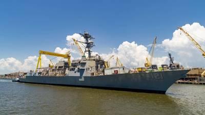 أطلق قسم إنجلز لبناء السفن في شركة HII مدمر فئة Arleigh Burke Frank E. Petersen Jr. (DDG 121) يوم الجمعة. (الصورة: HII)