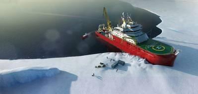 تهدف السفينة الأبحاث العلمية القطبية السير ديفيد أتينبورو ، التي بناها كاميل ليرد وتديرها هيئة المسح البريطاني لأنتاركتيكا ، إلى تغيير طريقة إجراء العلوم المنقولة بالسفن في المناطق القطبية. (الصورة: المسح البريطاني للقطب الجنوبي)