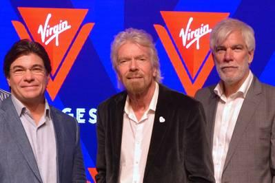 صورة الملف - من اليسار إلى اليمين: Tom McAlpin ، الرئيس التنفيذي لشركة فيرجن والرئيس ؛ السير ريتشارد برانسون ، مؤسس العذراء ؛ وستوارت هوكينز ، Virgin SVP Marine and Technical عند طرح الاسم والشعار الجديدين لشركة Virgin Voyages في عام 2017. (Photo: Wärtsilä)