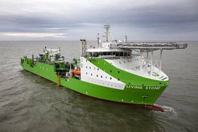 كابل Tideway الجديد وتركيب سفينة 'Living Stone' - واحدة من أكثر من 35 سفينة تشارك في التثبيت. الصورة: أورستد