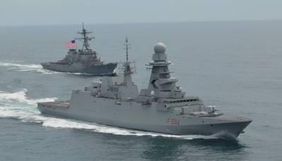 يستلم الـ ITS Alpino مرافقة إلى نورفولك من USS Gonzales. الصورة: Fincantieri Marinette Marine