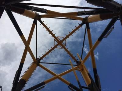खाड़ी द्वीप फैब्रिकेटर ने रोड आइलैंड से दीपवॉटर विंड के ब्लॉक आइलैंड विंड प्रोजेक्ट के लिए अपतटीय पवन टरबाइन जैकेट का निर्माण किया। बोम फोटो / सिड फाल्क