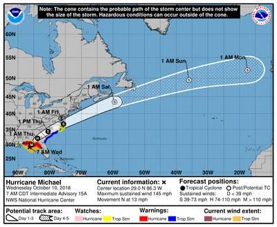 नवीनतम तूफान पथ भविष्यवाणियां (क्रेडिट: एनएचसी)